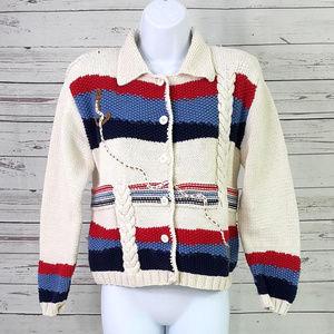 Talbots cream striped anchor nautical cardigan/S